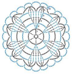 Crochet circle with hearts. Crochet Doily Rug, Crochet Snowflake Pattern, Crochet Mandala Pattern, Crochet Circles, Crochet Snowflakes, Crochet Flower Patterns, Crochet Diagram, Crochet Chart, Crochet Squares