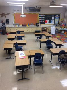 Cool classroom set up with desks in threes (image only)