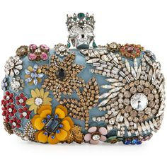 Alexander McQueen Classic Skull Silk Floral Clutch Bag (37.805 NOK) ❤ liked on Polyvore featuring bags, handbags, clutches, blue, chain handle handbags, floral clutches, clasp purse, blue purse and alexander mcqueen clutches