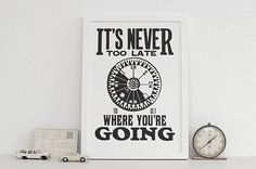 Never Too Late letterpress print by Lesley & Pea