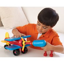 The battery-operated Take-A-Part Airplane power tool makes assembly fun! Kids will feel a tremendous sense of accomplishment when they build a real toy. Then they can pull it completely apart, and start all over again! Builds focus, concentration and fine motor skills. Includes 21 vehicle parts, 1 battery-operated power tool and 3 bits. Uses two AA batteries (not included).