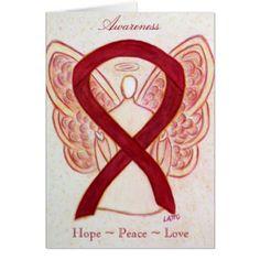 Burgundy Awareness Ribbon Angel Greeting Card