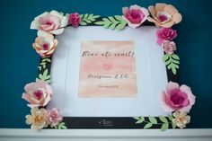 Welcome to our wedding with and design Welcome To Our Wedding, Watercolor Design, Paper Flowers, Bouquet, Frame, Picture Frame, Bouquet Of Flowers, Bouquets, Frames