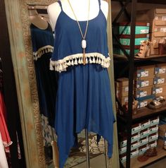 New! Indigo blue with fringe dress/tunic. Sm thru lg. $34.  Tula J Boutique is a trendy boutique in Trussville, AL that carries ladies and tween clothing, purses, shoes, jewelry, accessories, and more! Call (205) 655-5333 or stop by TODAY if you'd like to buy this item!