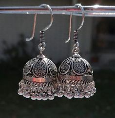 Types of Indian Jewelry Tradition of adoring oneself with jewelry is 5000 years old in India. Indian women and jewelry have always formed a great. Fancy Jewellery, Silver Jewellery Indian, Indian Earrings, Silver Jewelry, Silver Ring, Silver Jhumkas, Silver Earrings, Silver Necklaces, Silver Filigree
