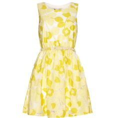 Yumi Bright Lace Jacquard Dress ($51) ❤ liked on Polyvore featuring dresses, yellow, sale, yellow dress, summer dresses, bright yellow dress, beige lace dress and fit & flare dress