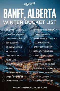 La bucket List pour un voyage au Canada, dans la région de l'Alberta. Wondering what to do in Banff in winter? We're sharing the ultimate winter Banff bucket list, including dog sledding, northern lights, ice skating on Lake Louise and more! Travel Guides, Travel Tips, Travel Vlog, Disney Travel, Travel Checklist, Travel Hacks, Travel Packing, Travel Backpack, Banff Canada