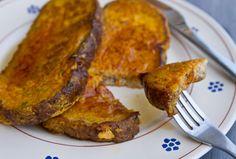 Pumpkin Pie French Toast and 20 Healthy Pumpkin Recipes - MyNaturalFamily.com #pumpkin #recipes