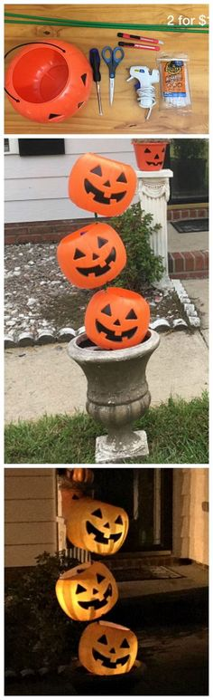 a plastic pumpkin pail tipsy decoration for Halloween! Such a cheap and easy craft for the yard!Make a plastic pumpkin pail tipsy decoration for Halloween! Such a cheap and easy craft for the yard! Casa Halloween, Halloween Designs, Outdoor Halloween, Halloween Projects, Spirit Halloween, Holidays Halloween, Halloween Pumpkins, Happy Halloween, Halloween Camping