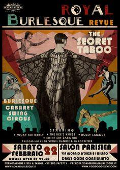 Art work by Voodoo De Luxe © Vintage Web Design, Burlesque Show, Cabaret, Voodoo, Flyers, Art Work, Pin Up, Artwork, Ruffles