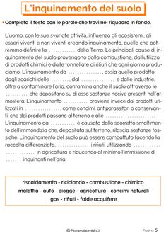 Il Suolo: Schede Didattiche per la Scuola Primaria   PianetaBambini.it Earth Day, Problem Solving, Alter, Science, School, Maria Grazia, Boards, Studio, Alphabet