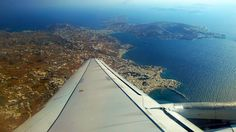 Mykonos JMK airport in The parking - taxis - boarding - runway. JMK is a windy airport and the runway is only 1900 m long. LGMK airport operated for the first time in June Cheap Flights To Europe, Best Greek Islands, Cheap Tickets, Taxi, Airplane View, Transportation, June, Runway