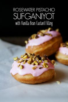 Chanukah donuts (sufganiyot) filled with vanilla bean pastry cream and topped with a rosewater glaze, then sprinkled with pistachios. Brunch Recipes, Dessert Recipes, Desserts, Custard Filling, How To Cook Eggs, Rose Water, Doughnut, Donuts, Pistachios