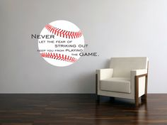 Baseball Stitches decal Never let the Fear of Striking Out with full ball Vinyl wall decal on Etsy, $28.00