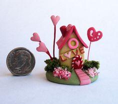 Handmade Miniature -   VALENTINE FAIRY LOVE SHACK COTTAGE HOUSE - by C. Rohal #CRohal