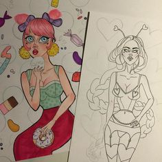 Two wips  #wip#workinprogress#art#draw#drawing#copicmarkers#touchmarkers#micron#micronpen#pendrawing#inking#valentines#valentinesday#candy#donut#cake#sweets#pinkhair#cute#girl#illustration#lingerie#artstagram#instaart#instadraw#marayarodriguezart by maraya.rodriguez.art