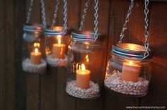 Mason Jar Lanterns Hanging Tea Light Luminaries - Set of 4 - Silver Chain - Wide Mouth Jar Style