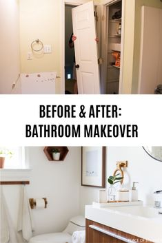 A before and after bathroom makeover you gotta see! A DIY project turned into a dream bathroom! #BathroomProjects #DIYProjects #BathroomMakeover