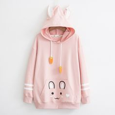 Embroidered Rabbit Carrot Hooded Sweater Girl Sweet Student Long Sleeve Bottoming Shirt – low-priced items from all over the world. Kawaii Fashion, Cute Fashion, Fashion Outfits, Kawaii Hoodie, Stylish Hoodies, Kawaii Clothes, Girls Sweaters, Outerwear Women, Sweater Hoodie