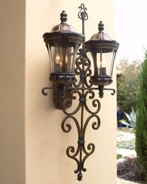 Two-Arm Outdoor Lantern  - traditional - outdoor lighting - Neiman Marcus