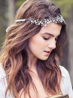 Jeweled de mariée cristal cheveux vigne rose or bandeau par Elibre