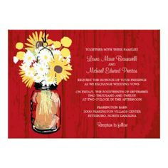 Red Barn Mason Jar filled with Sunflowers and White Daisies   Wedding Invitations #weddings #masonjar #sunflowers #barnwedding #rustic #floralwedding