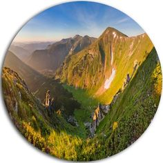 "DesignArt Landscape Round 'Karpaty Highrise Mountains' Photographic Print on Metal Size: 11"" H x 11"" W x 1"" D"