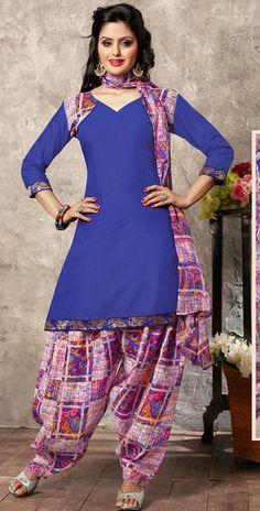 USD 23.27 Blue Cotton Punjabi Suit 44928