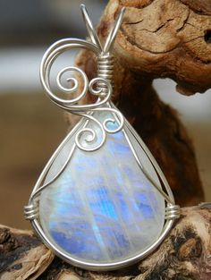 Rainbow moonstone pendant wire wrapped in argentium by ivysgembox