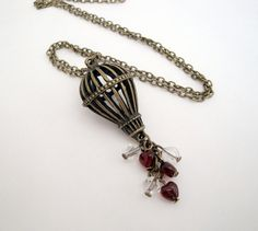 Hot air balloon necklace steampunk vintage by PirateTreasures