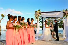 wedding ceremony, bride and groom, bridal squad