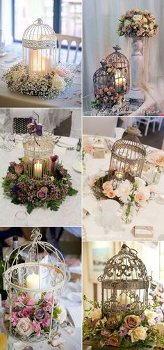 Charming birdcage candle holder decoration ideas for rustic vintage country wedding birdcage wedding centerpieces Lantern Centerpiece Wedding, Rustic Wedding Centerpieces, Candle Centerpieces, Centerpiece Ideas, Vintage Centerpiece Wedding, Bird Cage Centerpiece, Centerpiece Flowers, Vintage Party Decorations, Gazebo Decorations For Wedding