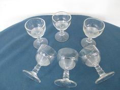 Retro Ribbed Cordial Wine Glass Set Of Six Vintage by BitofHope