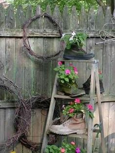Ladder with old boot planters