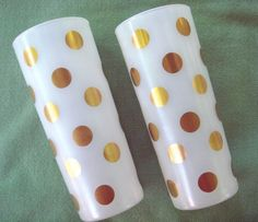 Mid Century Tumbler Glasses with Gold Dots