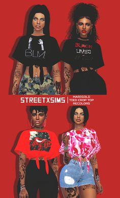 Sims 4 CC's - The Best: StreetxSims - Marigold ' Tied Short Sleeve Crop To...