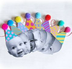 Personalised Face, Happy Head Garland/Bunting with Pom Pom Party Hats Birthday Bunting, Baby 1st Birthday, Birthday Diy, 1st Birthday Parties, Pom Pom Garland, Animal Party, Party Hats, First Birthdays, Creations