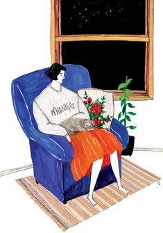 midnight – rimdraw Pretty Drawings, Art Drawings, Character Illustration, Illustration Art, Reading Art, Unusual Art, Watercolor Drawing, Love Painting, Mail Art