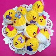Цыплята крючком пасхальные сувениры
