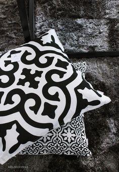 Orientalisch geht auch in schwarz/weiß. Dazu dein Lila als Farbakzent!