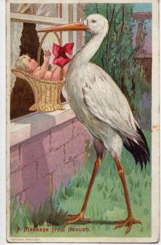 A Message From Heaven ~ Vintage Illustration~ New Birth Greetings Card Depicting…