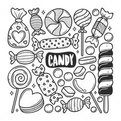 Candy icons hand drawn doodle coloring F. Free Doodles, Funny Doodles, Simple Doodles, Cool Doodles, Candy Icon, Candy Art, Easy Doodle Art, Doodle Art Designs, Doodle Frames