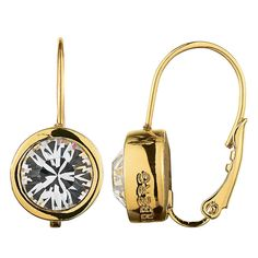 These gold 'Louise' stainless steel drop earrings from Dyrberg Kern have a French hook fastening and are detailed with a single Swarovski crystal. Crystal Earrings, Women's Earrings, Earrings Online, John Lewis, Pocket Watch, Swarovski Crystals, Jewels, Silver, Stuff To Buy