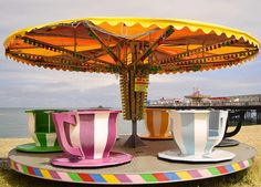 """Peter Johnson took this photograph of a teacups roundabout ride at Herne Bay in Kent just after it was set up """"before anyone had chance to ride it"""". This weeks theme for #englandsbigpicture is """"end of the summer holidays""""  join in and send your photographs to england@bbc.co.uk #england #picoftheday #photosofbritain #ukpotd #capturingbritain #hernebay #kent #teacups #roundabout #roundaboutride #beach #sea side"""