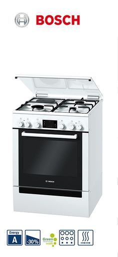Cuisinière mixte - 60cm | Four multifonction | 3 foyers gaz + 1 électrique | Nettoyage pyrolyse