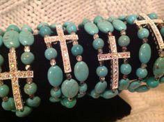 3strand tourquoise beaded rhinestone cross bracelet   $15.00.  ETSY STORE.  Sharmee2.  Lilybug boutique