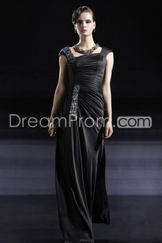 Pretty Square Neckline A-Line Floor-Length Pearls Evening/Homecoming Dresses
