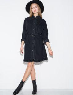 Black Frayed Denim Belted Dress $129.00