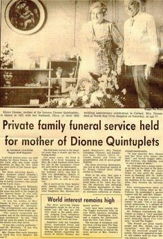 Funeral notice of Elzire Dionne Ontario, Children Furniture, Canadian History, Canada, Infancy, Cecile, Groot, Was, Vintage Photographs