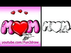 ▶ Draw Mom with a Heart Graffiti Bubble Letters - EASY - YouTube